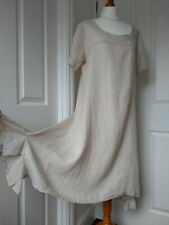 NEW PIAZZA DEL TEMPIO Linen Dress Warm Beige 12 14 UK Made in Italy Boho Peasant