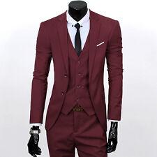 Men Slim Fit 3 Pieces Lapel Suit Best Man Groom Formal Tuxedo Business Vest Coat