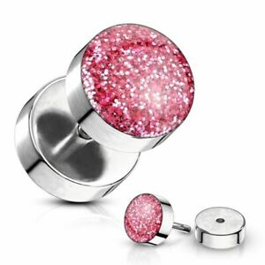 Piercing False Plug With Glitter Pink