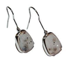 Sterling Silver & Drusy Quartz Fancy Drop Earrings - Was £110