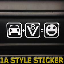 Auto+V8=Fun Aufkleber V8 Power Hubraum Stciker big block US CAR GMC pin up usa