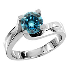 0.75 carat Blue Diamond Solitaire Engagement Ring 14K White Gold Round Si2 Clean