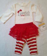 Girls' Carter's 2pc Bodysuit Leggings Tutu Red White Holiday Size Newborn NWT