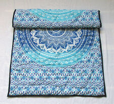 Blue Ombrey Mandala Baby Quilt Handmade Reversible Coverlet With Cotton Filled A