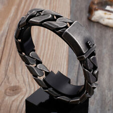 Link chain Xams Gift 17mm 8.66'' 112g Black stainless steel Men's bracelet Cuban