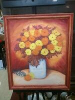 Vintage Original Floral Still Life Framed Oil Painting Country Folk Art Flowers