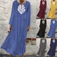 Mode Femme Manche Longue Col Rond Loisir Ample Robe Floral Dresse Midi Plus