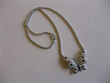 Silver Tone TRIFARI Butterfly Attached Pendant Necklace / Black & Clear Crystals