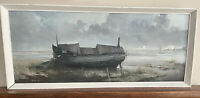 Fabulous Fine Oil Painting Of Boat Wreckage Norfolk By Alfred W Saunders