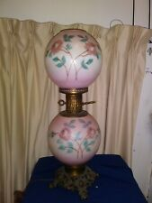 Antique Victorian Gone with the Wind electrified Lamp w/hand Painted Globes