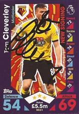 TOM CLEVERLEY SIGNED WATFORD 2016/2017 MATCH ATTAX 'EXTRA' TRADING CARD+COA