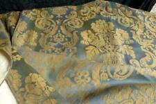 RARE PAIR FRENCH 19THC CURTAIN SHAWLS WOOL/SILK STEELBLUE GOLDEN VIGNETTES BIRDS