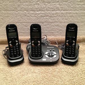 3 handsets Panasonic KX-TG4321B Digital Cordless phone system
