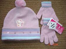 ABG Accessories Girls Knit Pink Beanie Hat & Gloves Sequin & Bead Flower detail