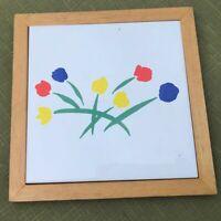 Vintage Wood Framed Tile Trivet tulips minimalist