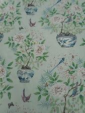 Zoffany Curtain Fabric 'Romey's Garden' 1.5 METRES (150cm) Sea Green 100% Linen
