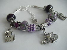 PURPLE 'Love My Cat' Hearts Charm Bracelet Cat/Cats Soft Kitty Crazy Cat Lady!!