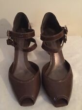 LADIES BROWN PATENT LEATHER PEEP TIE DOUBLE STRAP SHOES BY CLARKS SIZE UK 7