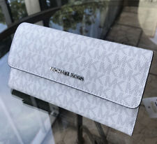 Michael Kors Women Large Leather Long Trifold id Wallet Clutch Bright White Grey