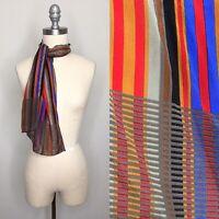 Vintage 80s Multicolor Striped Silk Scarf