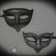 His & Her's Couples Black Charming and Silver Petite Masquerade Masks Set