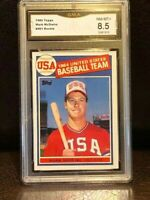 MARK MCGWIRE ROOKIE BASEBALL CARD - 1985 TOPPS OLYMPIC #401 - GRADED NR MINT