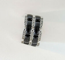 CHANEL Ring Ultra Wide 18K White Gold Diamonds and Ceramic Size 7