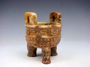 Old Nephrite Jade Stone Crafted Ancient Tripod Incense Burner w/ 2 Ear #04221901