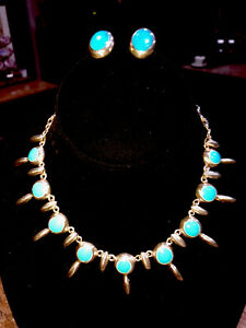 Sterling Silver & Blue Turquoise Necklace & Earrings Set Taxco Mexico 70g (NICE)