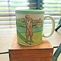 Golf Ceramic Coffee Cup Mug with Vintage Golfers on the Golf Course~Green 8 oz.