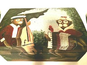 """Trunk Wooden Box Monkeys Making Music Fabric Lined Heavy Chest 12"""" x 8"""""""