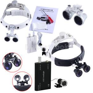 3.5X Dental Surgical Headband Medical Binocular Loupes LED Head Light Lamp