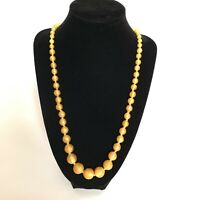 Necklace Butterscotch Yellow Satin Glass Beads Graduating Hand Knotted Art Deco