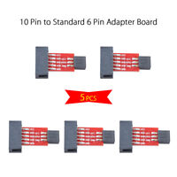 5x 10 Pin to Standard 6 Pin Adapter Board For ATMEL AVRISP USBASP STK500 Red PCB