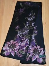 Lauren Ralph Lauren Silk Oblong Scarf Floral Bouquet Cabbage Rose Purple Black