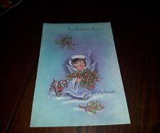 "Eve Rockwell VTG Christmas card 50's ""It's Christmas Again"" child holly dog gold"