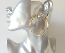 Beautiful 6cm gold tone 3 row - layered hoop earrings  * NEW *