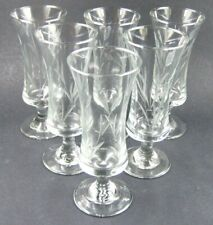 Set of 6 Vintage Etched Wine Champagne Glasses in Box