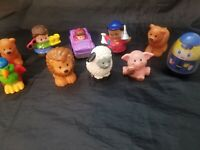 Mixed Lot of 10 Preschool Figures Animals Little People, Playskool, Weebles