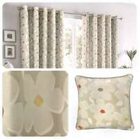 Fusion AURA Natural Daisy Floral 100% Cotton Eyelet Curtains & Cushions