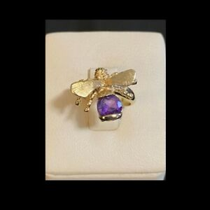 Ladies 14k Yellow Gold 6mm Round Amethyst Stone Bee Body Ring 4.25 grams Size 4