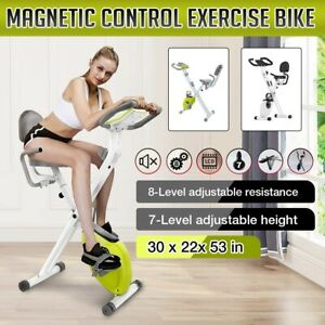 Folding Stationary Upright Indoor Cycling Exercise Bike with LCD Monitor