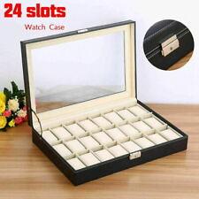 24 Girds Leather Watch Box Display Case Organizer Top Jewelry Storage w/Key Lock
