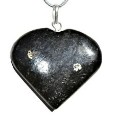 "CHARGED Starburst Flash Nuummite Crystal HEART Perfect Pendant™ + 20"" Chain"
