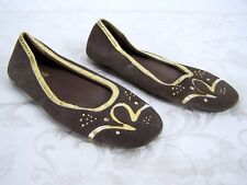Rocawear Brown Gold Leather Upper FLats Shoes Womens Size 8