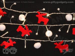 Scandi-Style Reindeer & Pom-Pom Fairy Lights w/ Silver Bells, 20 White LEDs