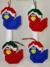 XMAS BABY BIRDS - HANDMADE PLASTIC CANVAS ORNAMENTS - SET OF 4