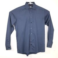 ETON Contemporary Mens 15.5 39 Solid Blue Dress Shirt Long Sleeve Cotton