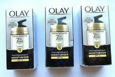 Olay Total Effects Featherweight Moisturiser 7In1 SPF15 Anti-Ageing Cream15ml X3