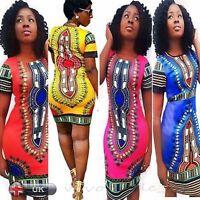 Femmes Sexy Traditionnel Africaine Imprimé Dashiki Moulant Robe Manches Courtes